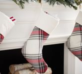 Pottery Barn Hamilton Plaid Stocking, Ivory & Red With Ivory Cuff