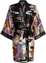HOTOUCH Women's Printing Geisa Kimono Robe Short Sleeve Silk Bridal Robe XXL