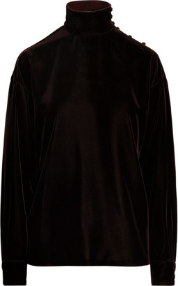 Ralph Lauren Michell Velvet e Long-Sleeve Blouse