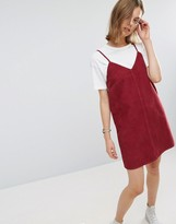 Asos Cord Slip Dress in Washed Raspberry With Raw Hem