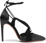 Alexandre Birman Rosita Satin And Suede Pumps - Black