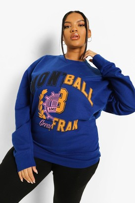 boohoo Plus Team Auto Graphic Sweat
