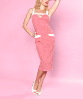Bettie Page Red Stripes Cutout Midi Dress