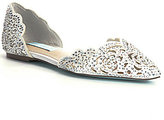Betsey Johnson Blue by Lucy Stone-Embellished Satin d'Orsay Flats