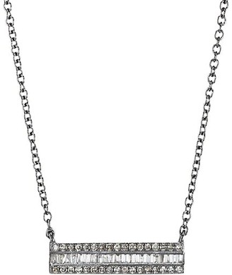 Nina Gilin Black Rhodium-Plated & Diamond Horizontal Bar Pendant Necklace