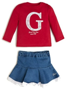 GUESS Girls Lace Applique Long Sleeve T-Shirt and Stretch Denim Skort Set