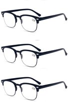 GAMT 3 Pair Retro TR90 Unbreakable HD Reading Glasses-1.0+1.5+2.0