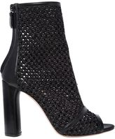 Casadei 100mm Woven Open Toe Ankle Boots