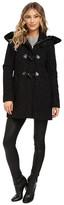 Ellen Tracy Novelty Wool Walker w/ Faux Fur Trim Hood
