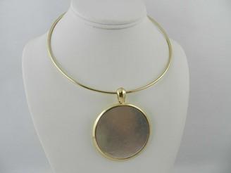 Robert Lee Morris Soho Two-Tone Large Circle Pendant Necklace