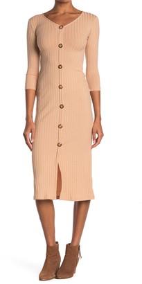 Velvet Torch V-Neck Button Front Knit Midi Dress