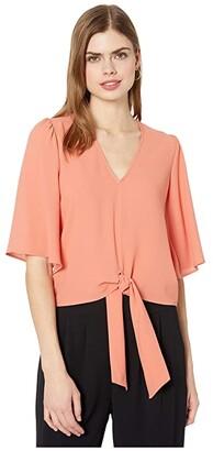 1 STATE Flounce Sleeve Tie Front V-Neck Blouse (Romantic Apricot) Women's Blouse