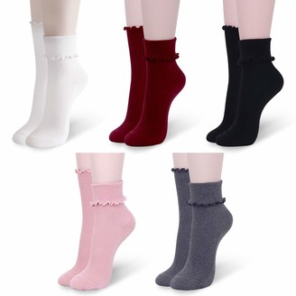YOUNEEDTHAT 5 Pack Ruffle Socks for Women Frilly Casual Lace Ankle Crew Solid Colors Gift Box - Multicolored - One Size