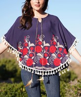 Ananda's Collection Women's Blouses navy - Navy Geometric Floral Tassel-Trim Poncho - Juniors