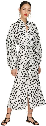 Carolina Herrera Polka Dot Crepe Midi Shirt Dress