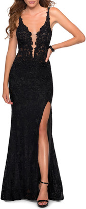La Femme Stretch Lace Column Gown with Thigh-Slit