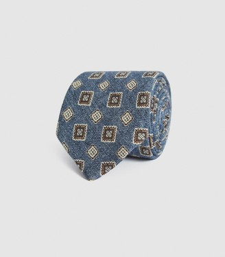 Reiss AREZZO WOOL MEDALLION TIE Soft Blue