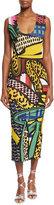 Stella McCartney Sleeveless Scoop-Neck Intarsia Midi Dress, Multi Colors