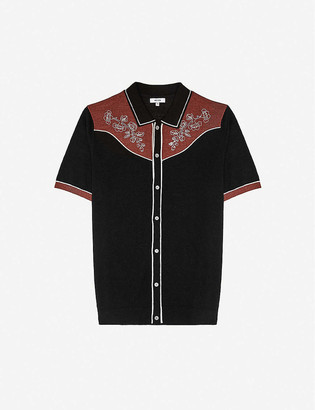 Reiss Shire floral-embroidered linen-blend knitted shirt