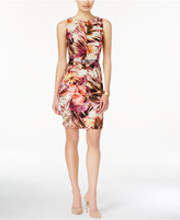 Connected Floral-Print Keyhole Belted Sheath Dress
