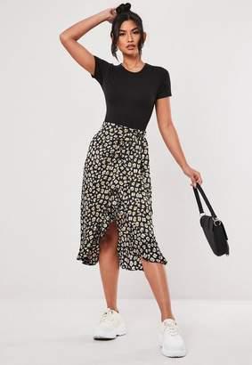 Missguided Tall Black Printed Midi Skirt