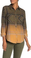 Love, Fire Ombre Plaid Flannel Button Front Shirt