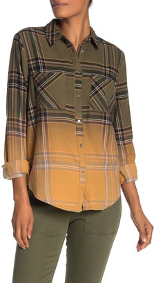 Love, Fire Ombre Plaid Flannel Button Front Shirt