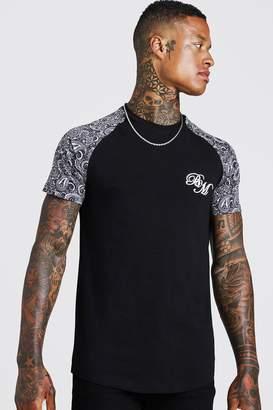 BoohoomanBoohooMAN Mens Black BM Embroidered Paisley Sleeve Print T-Shirt, Black