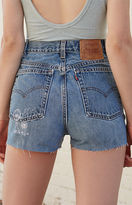 LA.EDIT Embroidered Denim High Rise Shorts