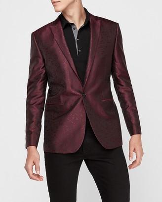 Express Slim Wine Floral Jacquard Tuxedo Jacket