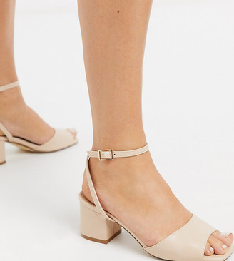 Truffle Collection wide fit mid block heeled sandals in beige