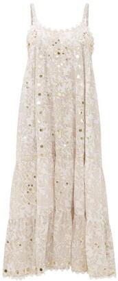 Juliet Dunn Mirror-work Floral-print Cotton Midi Dress - White Multi