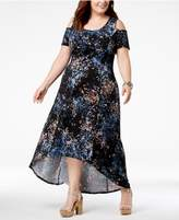 NY Collection Plus Size Cold-Shoulder Fit and Flare Dress