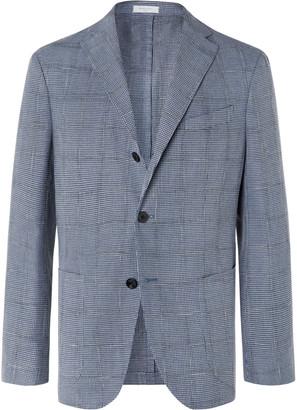 Boglioli Blue Slim-Fit Unstructured Houndstooth Woven Blazer