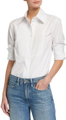 Lafayette 148 New York Holtz Italian Sculpted Cotton Pintucked Bib Shirt