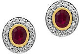 Effy White Sapphire, Ruby, 18K Yellow Gold and 0.925 Sterling Silver Stud Earrings