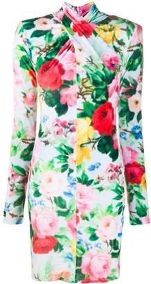 Richard Quinn Twisted Neck Floral Print Dress