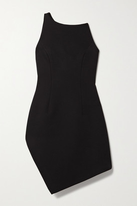 Coperni Motion One-shoulder Asymmetric Cady Mini Dress - Black