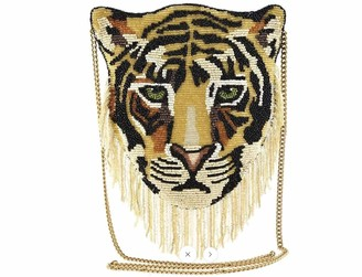 Mary Frances Crossbody Handbag Rajah Tiger Beaded Purse for Women 8 in. x 0.5 in. x 8 in