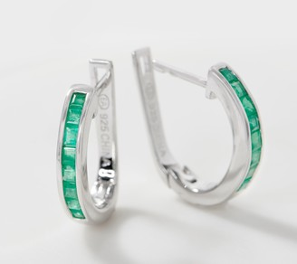 Precious Gemstone Hoop Earrings, 0.80 cttw, Sterling Silver