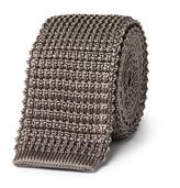 Lanvin 5cm Grosgrain-trimmed Knitted Silk Tie - Gray
