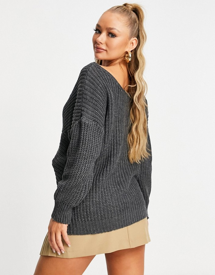 Thumbnail for your product : Parisian knot front sweater in charcoal