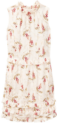Rebecca Taylor IVIE FLEUR PRINT JACQUARD DRESS - UK8 - Natural/Pink/Green