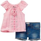 Hudson Geo Embroidered Top & Denim Short 2-Piece Set (Baby Girls)