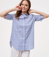 LOFT Petite Striped Shirred Softened Shirt
