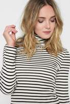 7 For All Mankind Long Sleeve Venice Stripe Turtleneck In Off White