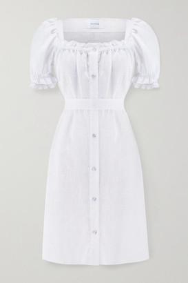 Sleeper Brigitte Belted Ruffled Linen Mini Dress