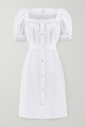 Sleeper Brigitte Belted Ruffled Linen Mini Dress - White