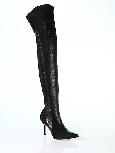 Paul Andrew Crocodile-Embossed Leather & Suede Over-The-Knee Boots