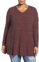 Sejour Plus Size Women's Stripe Knit Tunic